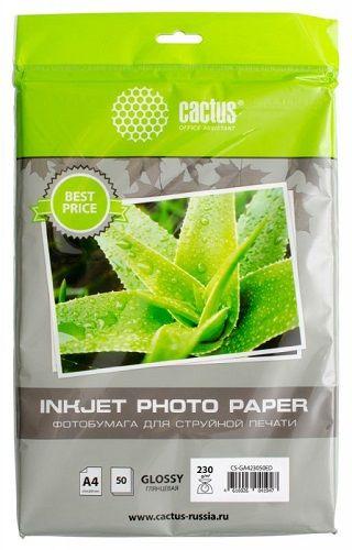 Фотобумага Cactus CS-GA423050ED A4/230г/м2/50л./белый глянцевое для струйной печати фотобумага cactus cs ga623050ed 10x15 230г м2 50л белый глянцевая для струйной печати