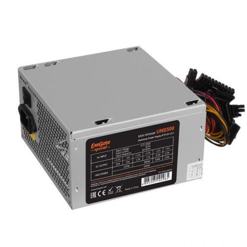 Фото - Блок питания ATX Exegate UNS500 ES261569RUS-S 500W, SC, 12cm fan, 24p+4p, 6/8p PCI-E, 3*SATA, 2*IDE, FDD + кабель 220V с защитой от выдергивания выключатель сенсорный с контактным проводом 220v 500w pm218ws 220v