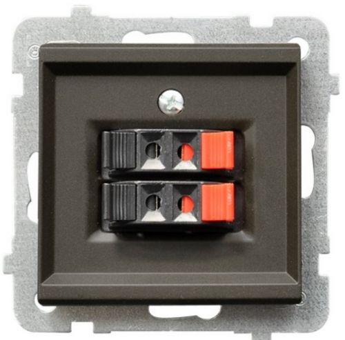Розетка Ospel GG-2R/m/40 для динамиков, двойная, подключаемость проводов 0, 75мм2, шоколадный металлик