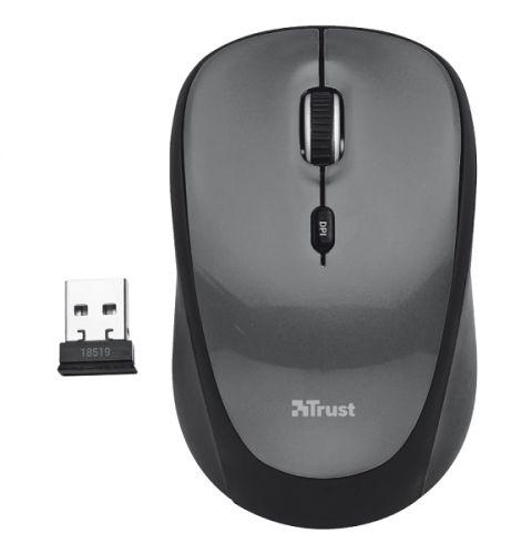 мышь trust varo wireless ergonomic mouse black usb Мышь Wireless Trust Yvi USB, 800-1600dpi, black, подходит под обе руки, parrot