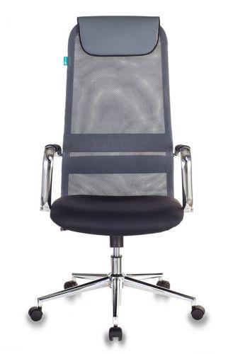 Кресло Бюрократ KB-9N руководителя, цвет темно-серый TW-04 TW-12 сетка/ткань с подголов. крестовина металл хром