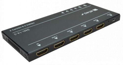 Усилитель-распределитель Digis SMI-14-2 1x4 HDMI. 4K 60Гц 4:4:4 (HDR), HDMI 2.0, EDID, HDCP 2.2, EDID. Масштабирование 4K в 1080p.