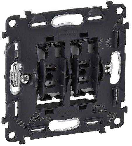 Выключатель Legrand 752018 двухклавишный кнопочный 6А 250В Безвинтовые зажимы