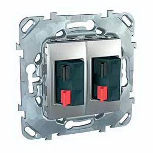Розетка Schneider Electric MGU5.8787.30ZD Unica Top алюм аудио двойная
