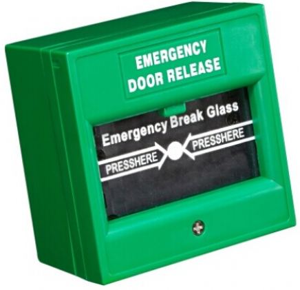 Кнопка HIKVISION DS-K7PEB аварийного выхода, 3A DC36В макс.; размер 86×86×50мм; пожароустойчивый материал (зелёная)