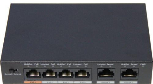 Коммуникатор Nobelic NBLS-0604H сетевой индустриальный 4 портовый 2-го уровня; 4 POE порта RJ45 -100mb; 2 порта Uplink RJ-45 -100mb, IEEE802.3af (PoE)