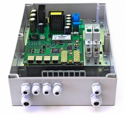 Коммутатор TFortis PSW-2G+ Гигабитный управляемый уличный для подключения 4 камер с встроенным оптическим кроссом с поддержкой РоЕ+ (HighPoE) 802.3at