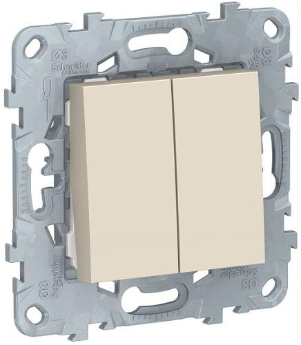 Фото - Переключатель Schneider Electric NU521344 UnicaNew, беж, 2-клавишный, 2 х сх. 6, 10 AX, 250В выключатель schneider electric nu520118 unicanew белый 1 клавишный сх 1 10 ax 250в