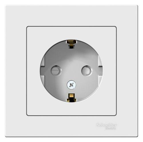 Розетка Schneider Electric ATN000144 AtlasDesign, с заземлением, со шторками, 16А, в сборе, белая