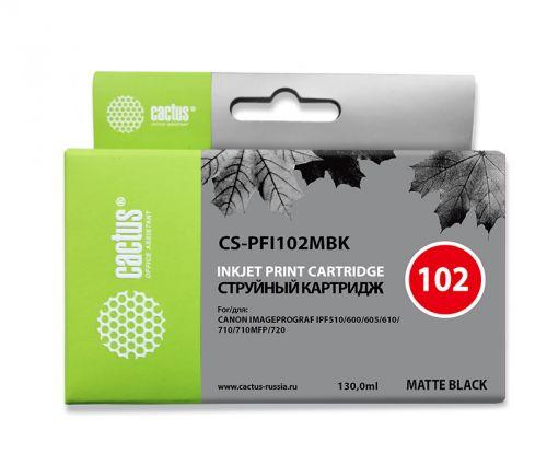Картридж Cactus CS-PFI102MBK черный матовый (130мл) для Canon iPF500/iPF600/iPF700/ MFP M40