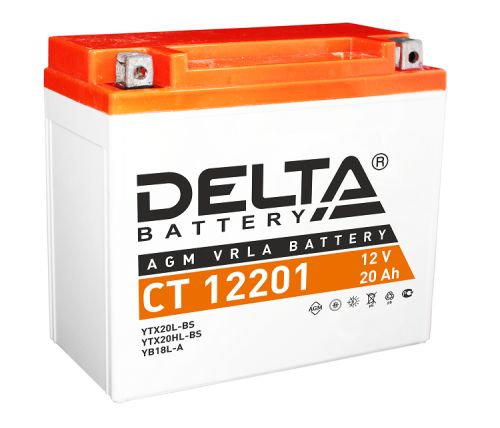 Аккумулятор Delta CT 12201 12В, 20Ач, battery replacement YTX20L-BS, YTX20HL-BS, YB16CL-B, YB16L-B, YB18L-A