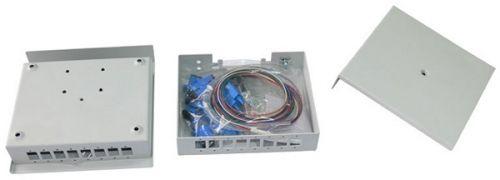 Бокс настенный Vimcom НКРУ-LB-8-SC 4AD-SC-SM+4PT-SM-SC-1 4 порта (расширяется до 8) SM(9/125) SC, укомплектованный (пигтейлы+проходные адаптеры)