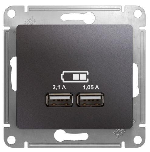 Розетка Schneider Electric GSL001333 Glossa USB 5В/2100мА, 2х5В/1050мА графит