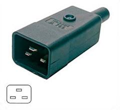 Разъем Hyperline CON-IEC320C20 IEC 60320 C20 220В 16A на кабель, контакты на винтах (плоские выступающие штыревые контакты в пластиковом обрамлении),