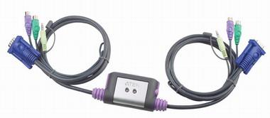 Переключатель KVM Aten CS62A-A7 KVM+Audio, 1 user PS2+VGA => 2 cpu PS2+VGA, со встр.шнурами PS2 2x1.2м., 2048x1536, настол., исп.стандарт.шнуры, без O