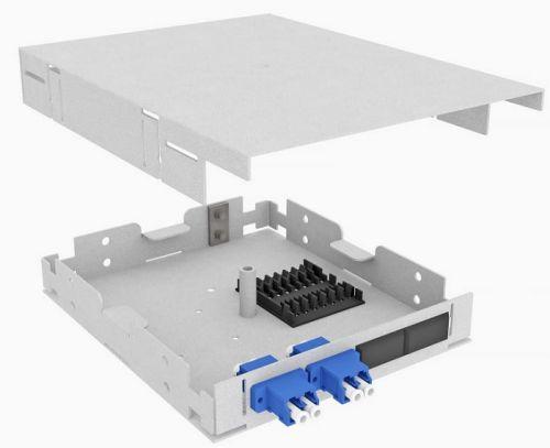 Кросс оптический на DIN-рейку TopLAN КРНМ-Top-04LC/U-OS2-GY-DIN 4 LC/UPC адаптера, одномодовый, TopLAN, укомплектованный