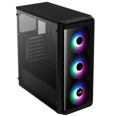 Корпус ATX AeroCool SI-5200 Frost 4718009159303 черный, без БП, с окном, USB 3.0, 2*USB 2.0, audio, 3*Frost 120mm RGB fan корпус atx aerocool aero one frost g bk v1 4710562752328 черный без бп с окном 2 usb 3 0 audio