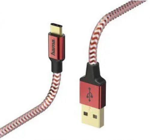 Кабель интерфейсный HAMA 00178296 USB Type-C (m)/USB A(m), 1.5м, красный кабель hama h 54500 00054500 usb a m usb a m 1 8м
