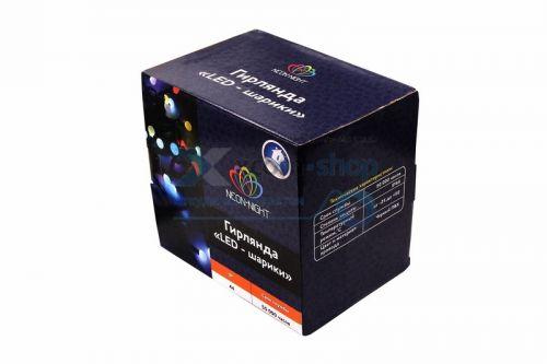 Фото - Гирлянда NEON-NIGHT 303-502 мультиколор шарики Ø17,5мм, 20м, черный ПВХ, 200 диодов, цвет красный гирлянда neon night 303 323 твинкл лайт 20м черный каучук 240 диодов цвет синий
