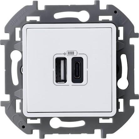 Розетка Legrand 673760 Inspiria белое с двумя USB-разьемами A-C 240В/5В 3000мА