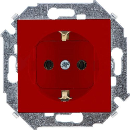 Розетка Simon 1591432-037 Simon 15 Красный с/з, 16А, 250В, винт.заж.