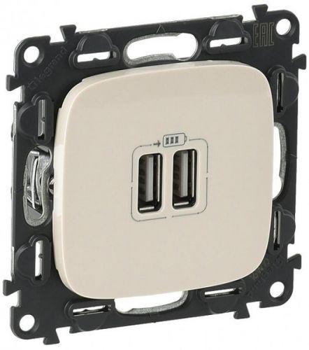 Розетка Legrand 754996 Valena ALLURE, 2-ая USB, 240В/5В, 1500мА, слоновая кость (с лицевой панелью)