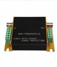Устройство защиты OSNOVO SP-CPD/12-24 грозозащиты цепей видео, питания и данных, видео: 1 вх.(BNC-мама), 1 вых.(BNC-мама); питание и данные: 1 вх.(кле