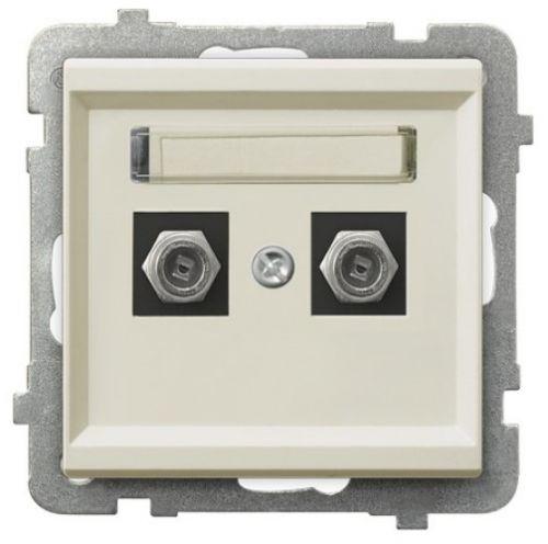 Розетка Ospel GPA-2RF/m/27 телевизионная типа F, двойная, экрю