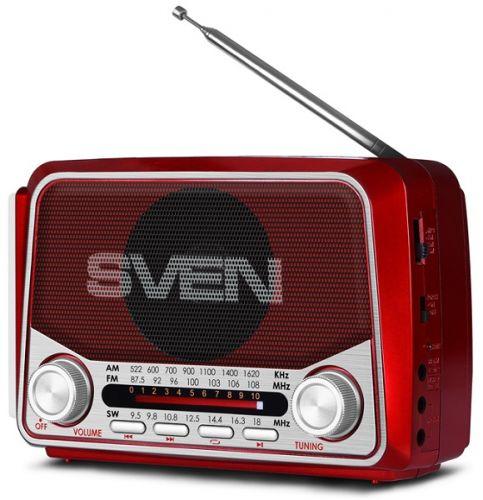 Радиоприемник Sven SRP-525 SV-017163 красная, 3Вт, USB, microSD, FM/AM/SW, фонарь, встроенный аккумулятор