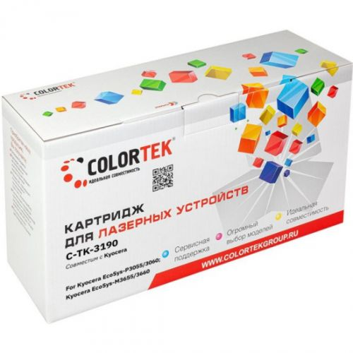 Картридж Colortek CT-TK3190 для Kyocera EcoSys-P3055, Kyocera EcoSys-P3060, Kyocera EcoSys-M3655, Kyocera EcoSys-M3660, черный, 25000 стр