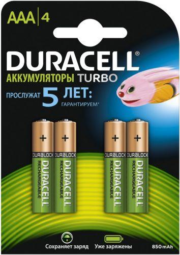 Аккумулятор Duracell HR03 850mAh, 4шт, size AAA, предзаряженные