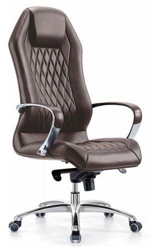 Кресло Бюрократ _AURA коричневое, кожа, крестовина алюминий