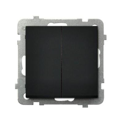 Выключатель Ospel LP-17R/m/33 самовозвратный, двойной, 10AX, 250V, 2200W, IP-20, клеммы безвинтовые, черный металлик