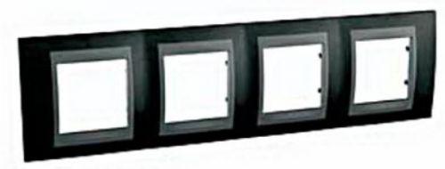 Рамка Schneider Electric Unica Top MGU66.008.293 4 поста, IP20 (родий/графит) (арт. )
