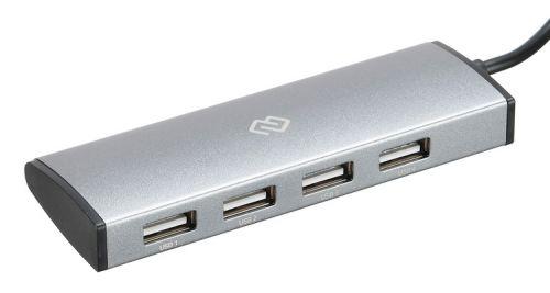 Разветвитель USB 3.1 Digma HUB-4U2.0-UC-DS 4*USB 2.0, серебристый разветвитель usb type c digma hub 7u2 0 uc b 7 x usb 2 0 черный
