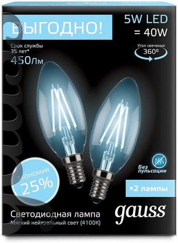 Фото - Лампа светодиодная Gauss 103801205P Filament Свеча E14 5W 4100К 2/100 (2 лампы в упаковке) лампа светодиодная 7вт 230в e14 filament теплый свеча gauss