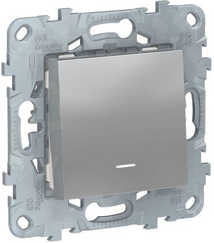 Фото - Выключатель Schneider Electric NU520130N UnicaNew, алюминий, 1-клавишный, с подсветкой, сх. 1а выключатель schneider electric nu520118 unicanew белый 1 клавишный сх 1 10 ax 250в