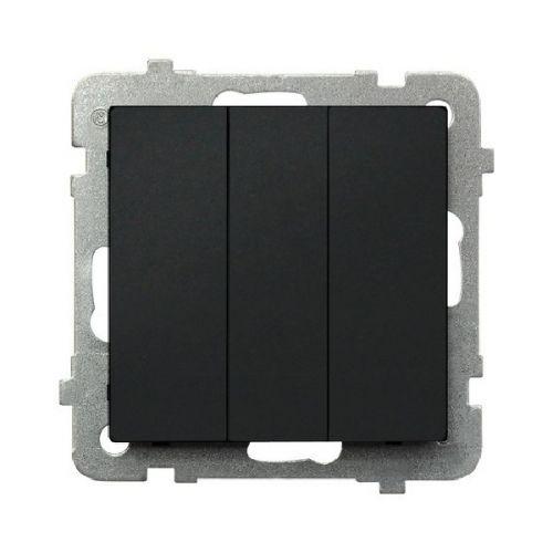 Выключатель Ospel LP-13R/m/33 трехклавишный, 10AX, 250V, 2200W, IP-20, клеммы безвинтовые, черный металлик