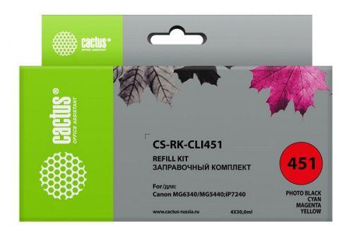 Заправочный комплект Cactus CS-RK-CLI451 цветной (4x30мл) Canon MG 6340/5440/IP7240