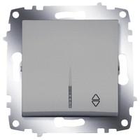 Переключатель ABB 619-011000-210 Cosmo одноклавишный, с подсветкой, 10А, 250В, IP20 (сх. 6) (алюминий)