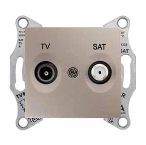 Розетка проходная Schneider Electric SDN3401268 Sedna TV/SAT, 8дБ (титан)