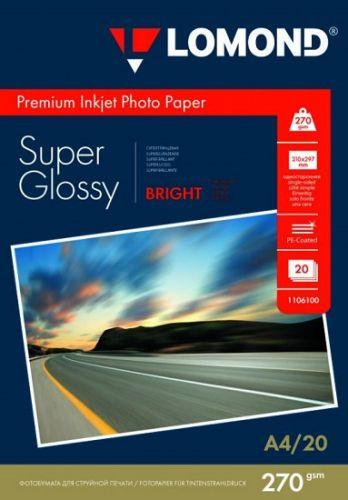 Бумага Lomond 1106100 суперглянцевая, А4, 270 г/м2, 20 листов