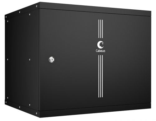 Шкаф настенный 19, 9U Cabeus WSC-05D-9U55/45m-BK серия LIGHT разборный, дверь металл, цвет черный