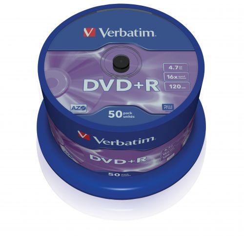 Диск DVD+R Verbatim 43550 4.7ГБ, 16x, 50 шт., Cake Box