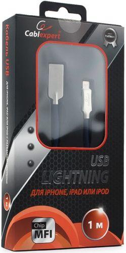 Фото - Кабель интерфейсный USB 2.0 Cablexpert CC-P-APUSB02Bl-1M MFI, AM/Lightning, серия Platinum, длина 1м, синий, блистер кабель интерфейсный hama 00187232 lightning usb 2 0 m 1м синий плоский