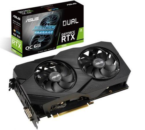 Видеокарта PCI-E ASUS GeForce RTX 2060 EVO OC (DUAL-RTX2060-O6G-EVO) 6GB GDDR6 192bit 12nm 1365/14000MHz DVI-D/2*HDMI/DP