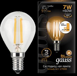 Фото - Лампа светодиодная Gauss 105801107-S LED Filament Шар E14 7W 550lm 2700K step dimmable лампа светодиодная gauss 104801107 s led filament свеча на ветру e14 7w 550lm 2700k step dimmable