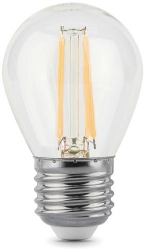 Лампа светодиодная Gauss 105802205 LED Filament Шар E27 5W 450lm 4100K лампа gauss led filament свеча на ветру dimmable e14 5w 450lm 4100k 1 10 50
