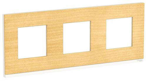 Рамка Schneider Electric NU600683 3-ная горизонтальная клен/белая