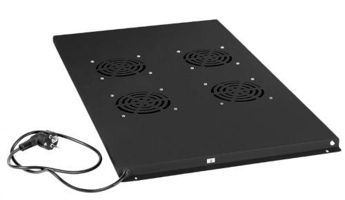 Вентиляторный модуль Cabeus TRAY-100-BK с 4-я вентиляторами для установки в напольные шкафы серии SH-05C , ND-05C глубиной 1000мм, цвет черный (RAL 90 шкафы в лобне